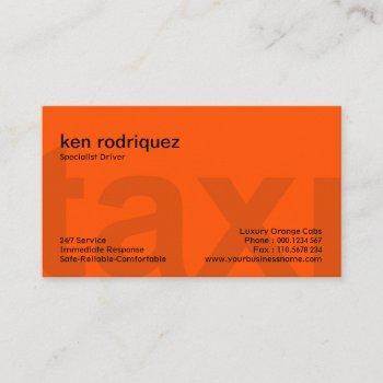 rich colorful vivid orange big taxi letters taxi business card