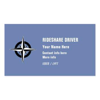 Small Rideshare Driver Business Card Front View