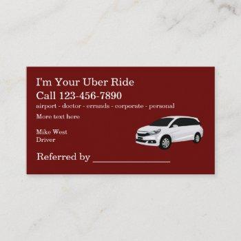 rideshare taxi driver referral business card