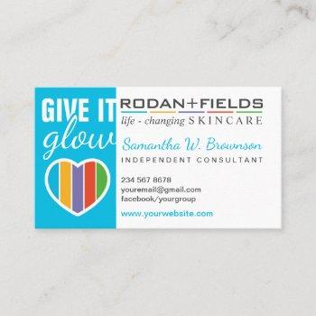 rodan and fields give it glow business card