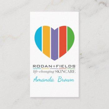rodan+fields business cards heart logo rf scincare