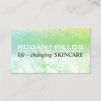 rodan fields marble glitter green business card