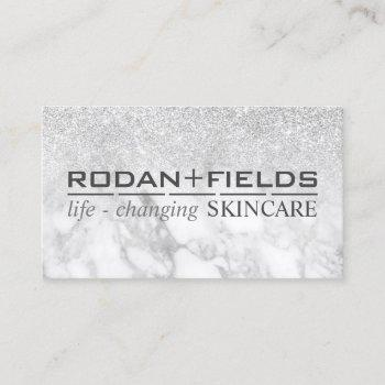 rodan fields marble glitter silver business card
