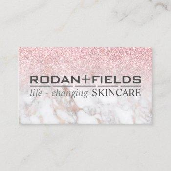 rodan fields marble rosegold glitter pink business card