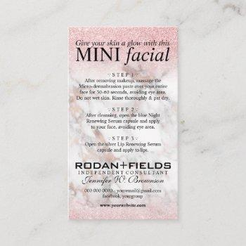 rodan fields mini facial rose gold marble business card