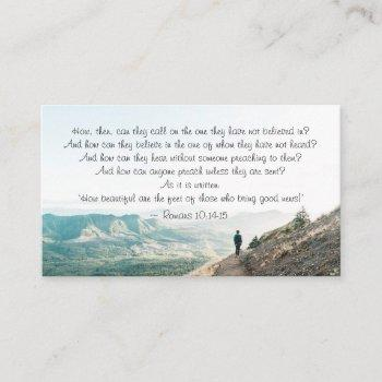romans 10:14-15 how then shall they call on him business card