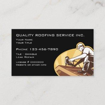 roofing and construction retro design business card