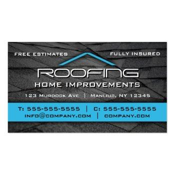 Small Roofing Professional Business Card Blue Front View