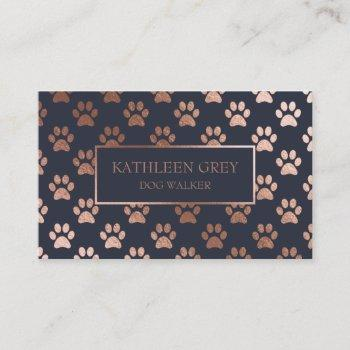 rose gold and navy paw print pattern | pet groomer business card