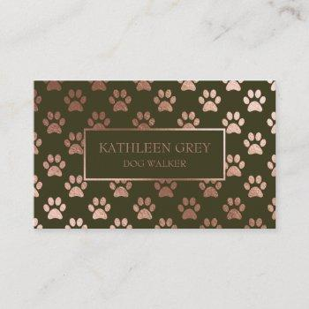 rose gold and olive paw print pattern business card