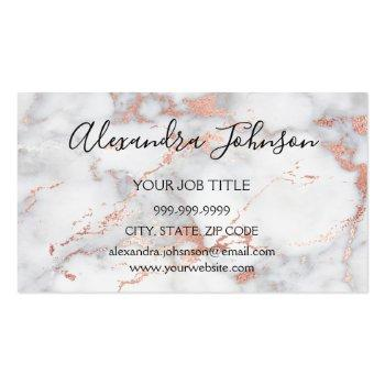 Small Rose Gold And White Marble Hair And Makeup Business Card Magnet Front View