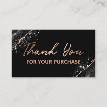 rose gold black thank you for your purchase business card