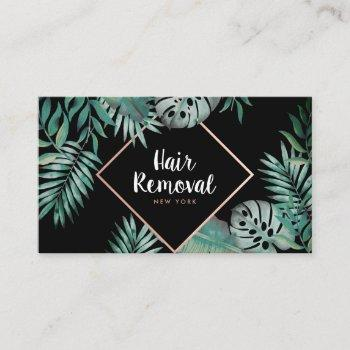 rose gold black tropical green watercolor leaves business card