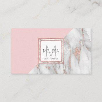 rose gold blush pink marble grey feminine business card