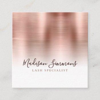 rose gold brushed metal monogram elegant script square business card