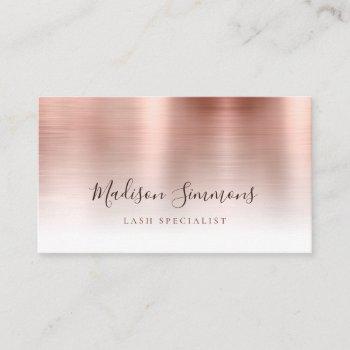 rose gold brushed metal monogram stylish script business card