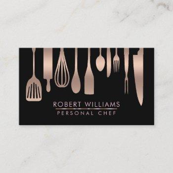 rose gold chef kitchen tools glitter faux catering business card