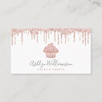 rose gold cupcake glitter drips bakery pastry chef business card