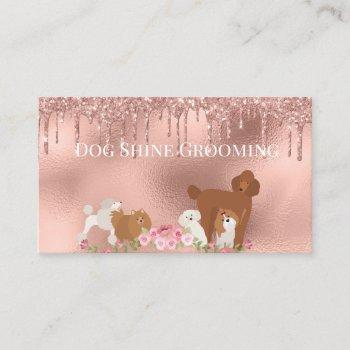 rose gold dog grooming glitter pet services business card