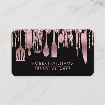 rose gold drip chef kitchen tools glitter faux business card