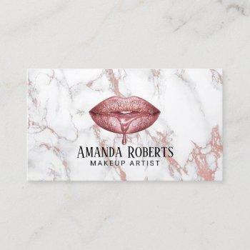 rose gold dripping lips white marble makeup artist business card