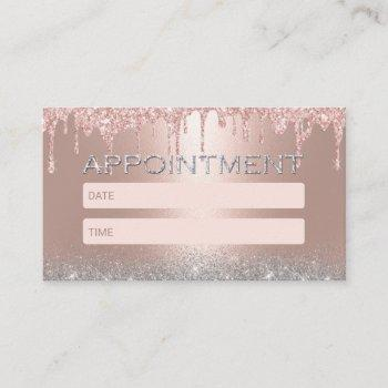rose gold drips silver glitter salon appointment