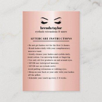 rose gold eyelash  browbar aftercare instructions business card