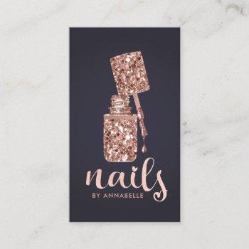 rose gold faux glitter nails business card