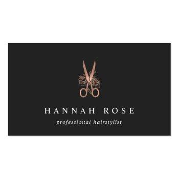 Small Rose Gold Floral Scissors Logo Hairstylist Business Card Front View