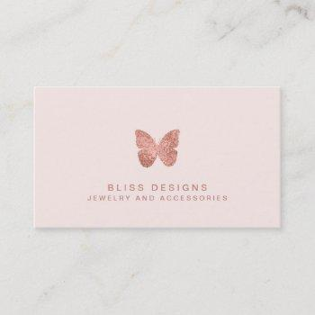 rose gold foil butterfly elegant blush pink business card
