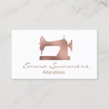 rose gold foil sewing machine alterations business card