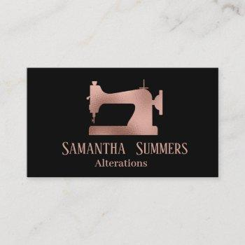 rose gold foil sewing machine alterations tailor business card