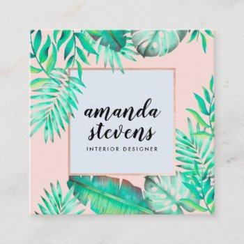 rose gold frame blush pink watercolor tropical square business card