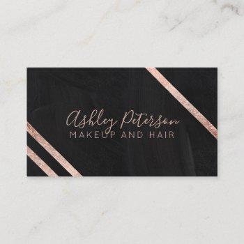 rose gold geo chalkboard hair makeup typography business card