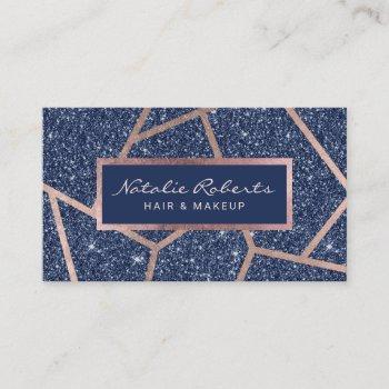 rose gold geometric navy blue glitter beauty salon business card