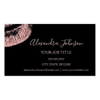 Small Rose Gold Glitter And Sparkle Lipstick Makeup Business Card Magnet Front View