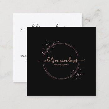 rose gold glitter circle logo business card