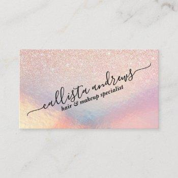 rose gold glitter iridescent holographic gradient business card