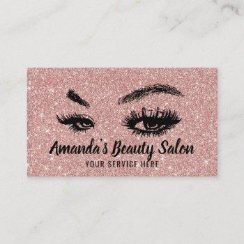 rose gold glitter lashes & brows makeup artist business card