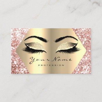 rose gold glitter makeup artist lashes appointment business card