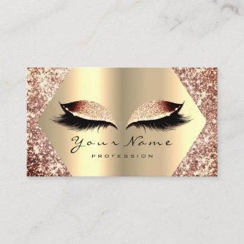 rose gold glitter makeup artist lashes extension business card