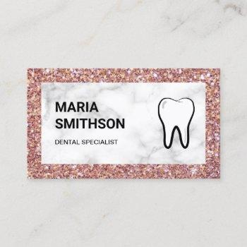 rose gold glitter marble dental clinic dentist business card