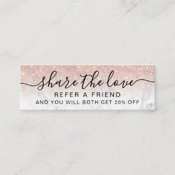 rose gold glitter ombre marble chic referral card