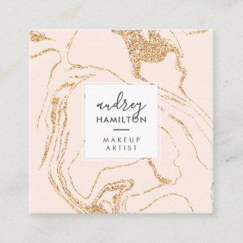 rose gold glitter pink white marble elegant makeup square business card