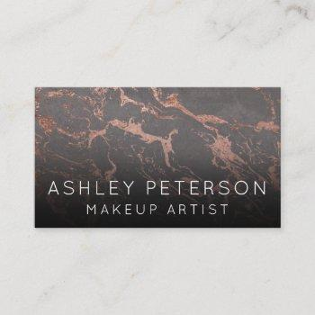 rose gold grey marble makeup typography business card