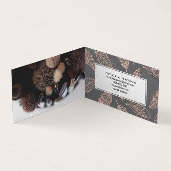 rose gold hand drawn boho feathers hand drawn grey business card