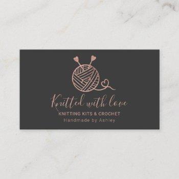 rose gold knitting crochet yarn handmade kit gray business card
