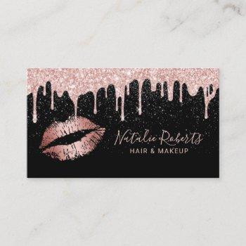 rose gold lips glam glitter drips beauty salon business card
