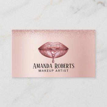 rose gold lips makeup artist modern beauty salon business card