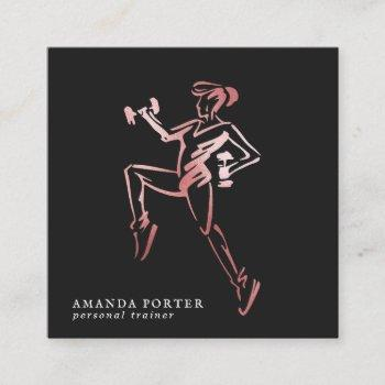rose gold logo | personal trainer, fitness gym square business card